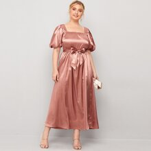 Plus Solid Puff Sleeve Belted Satin Dress