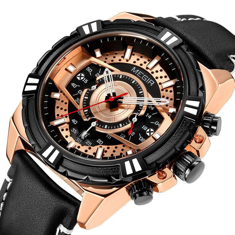 Sports Style Complete Calendar Chronograph Waterproof Leather Quartz Men Wristwatch Watch