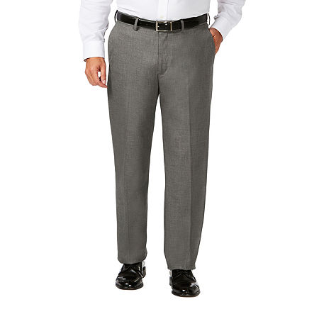 JM Haggar Classic Fit Flat Front Dress Pant-Big and Tall, 50 32, Gray