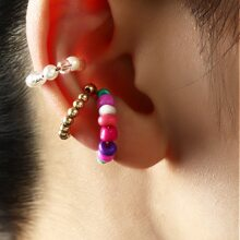 3pcs Colorful Beaded Ear Cuff