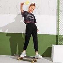 Girls Slogan and Star Print Top & Flap Pocket Patched Pants Set