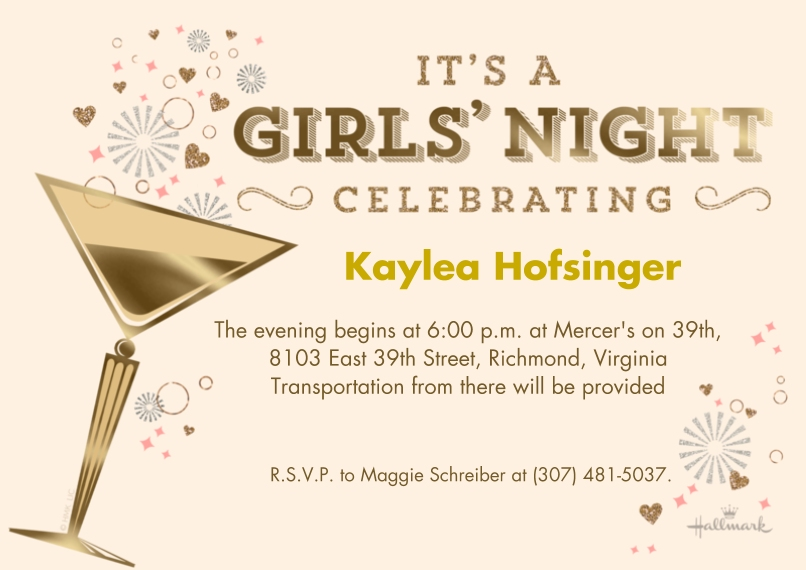Wedding Shower Invites 5x7 Cards, Premium Cardstock 120lb with Elegant Corners, Card & Stationery -Girls' Night Out