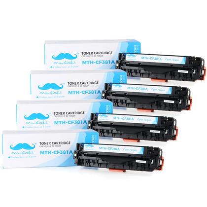 Compatible HP 312A CF381A Cyan Toner Cartridge - Moustache@ - 4/Pack