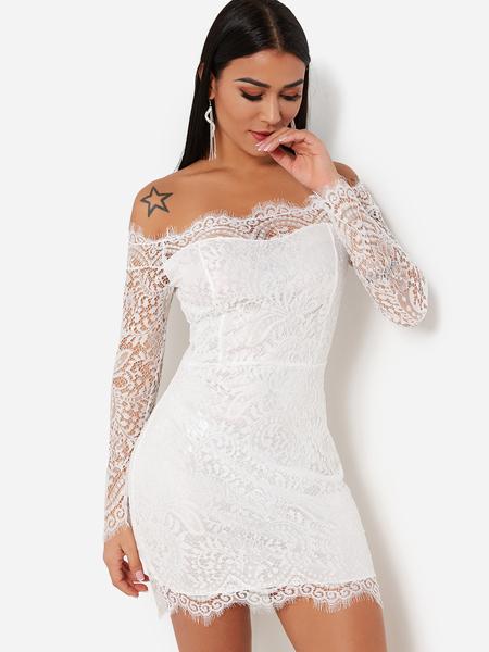Yoins White Lace Details Eyelash Trim Off Shoulder Sheer Party Dress
