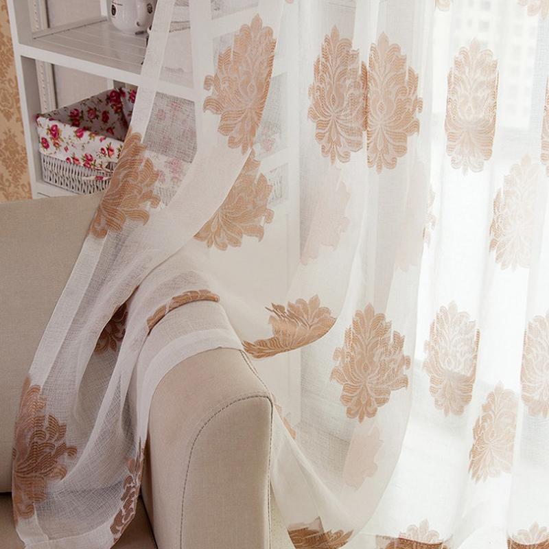 Linen Semi-Voile 2-Pieces Jacquard Grommet Top Sheer Curtain