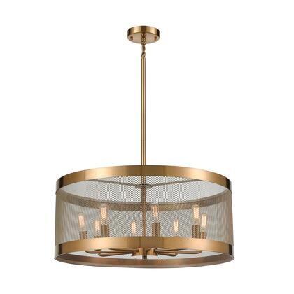 D4333 Line  In The Sand 8-Light Pendant  In Satin Brass And Antique