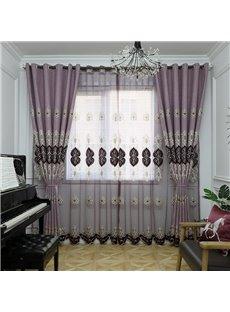 Europe Type Sitting Dark Pink Hand-made Embroider Sheer Curtain