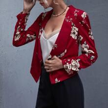 Shawl Collar Floral Print Blazer