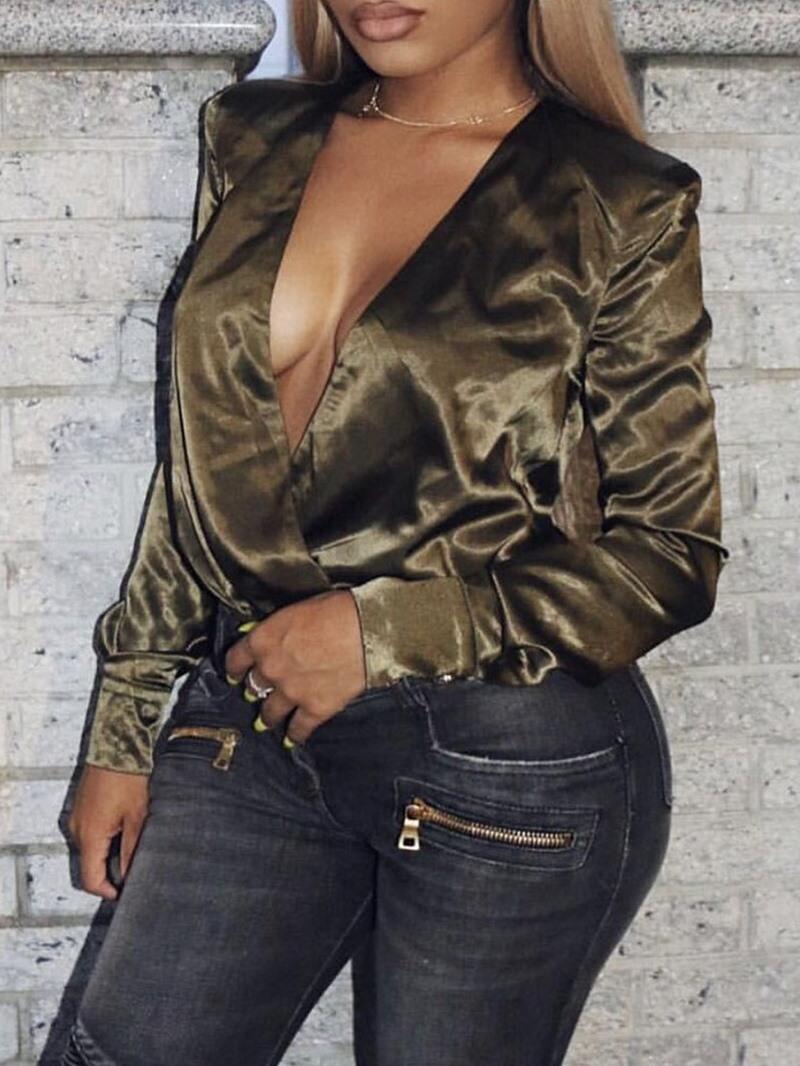Ericdress Plain V-Neck Long Sleeve Standard Women's Blouse