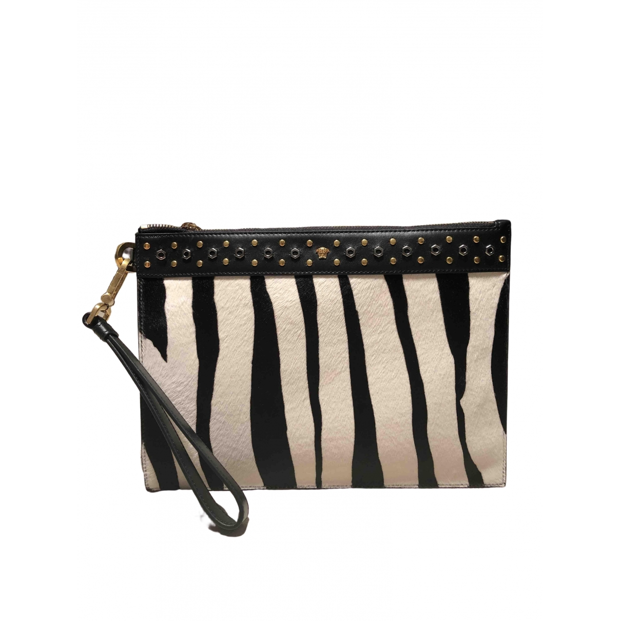 Versace \N Clutch in  Schwarz Kalbsleder in Pony-Optik
