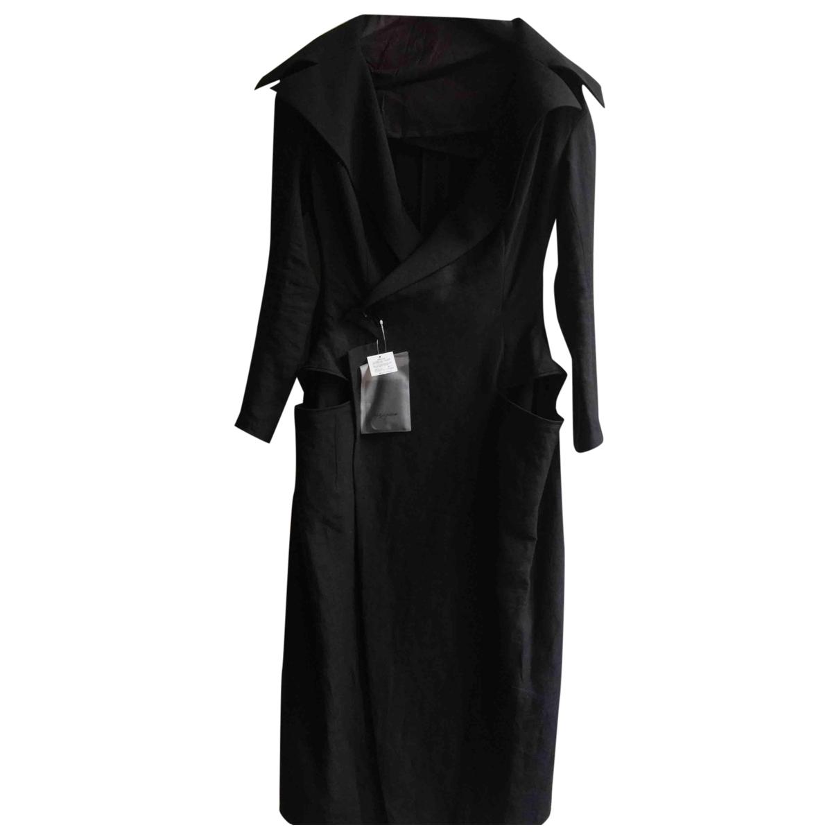 Yohji Yamamoto - Manteau   pour femme en lin - noir