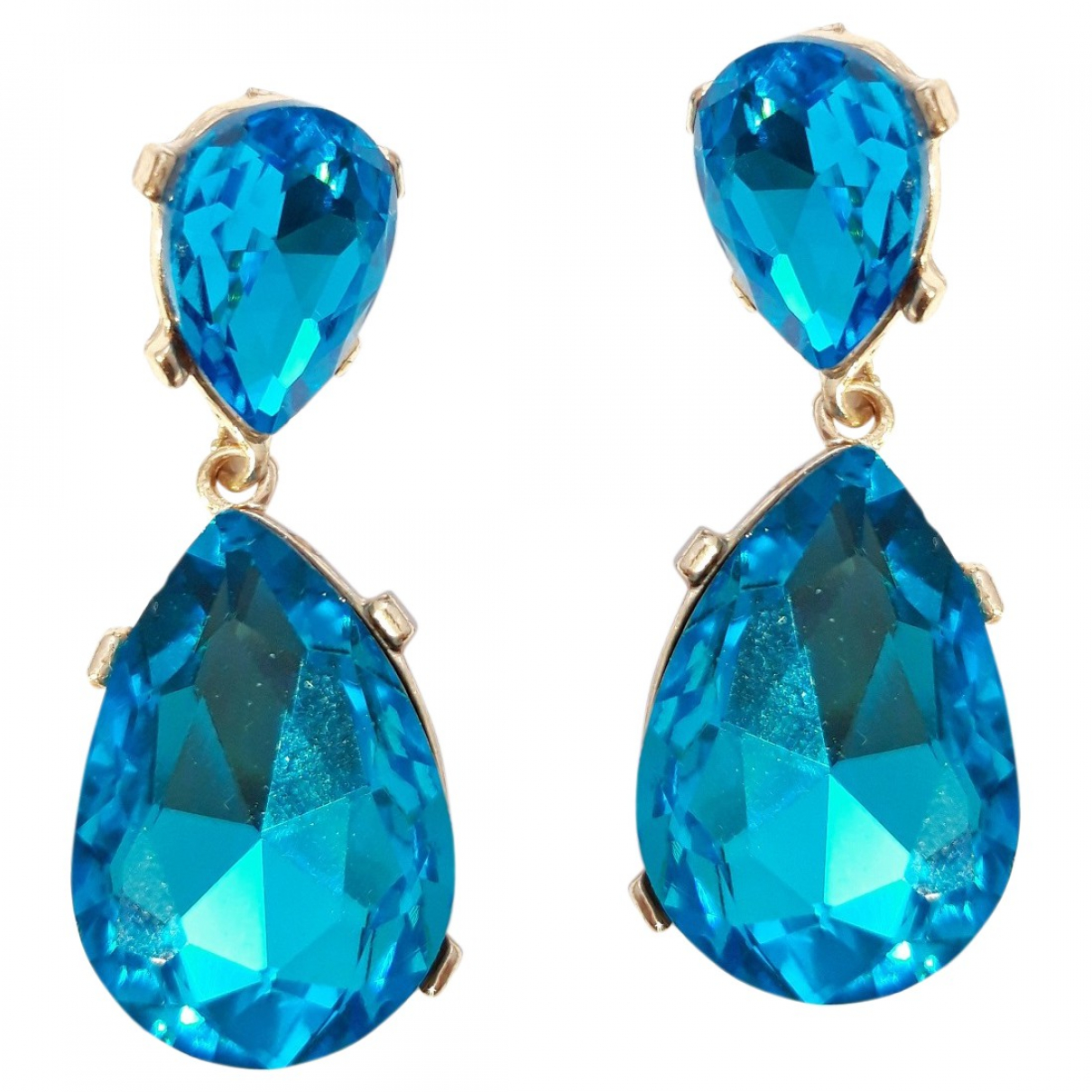 Non Signé / Unsigned Art Déco Turquoise Crystal Earrings for Women \N