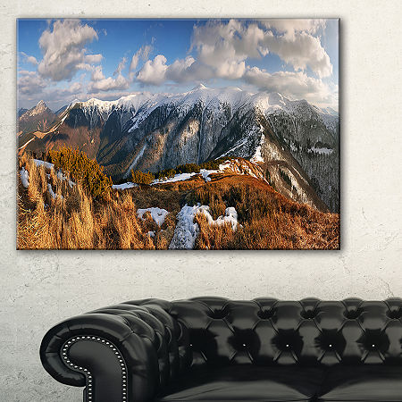 Designart Mountains With Sun At Vratna Valley Canvas Art, One Size , Blue
