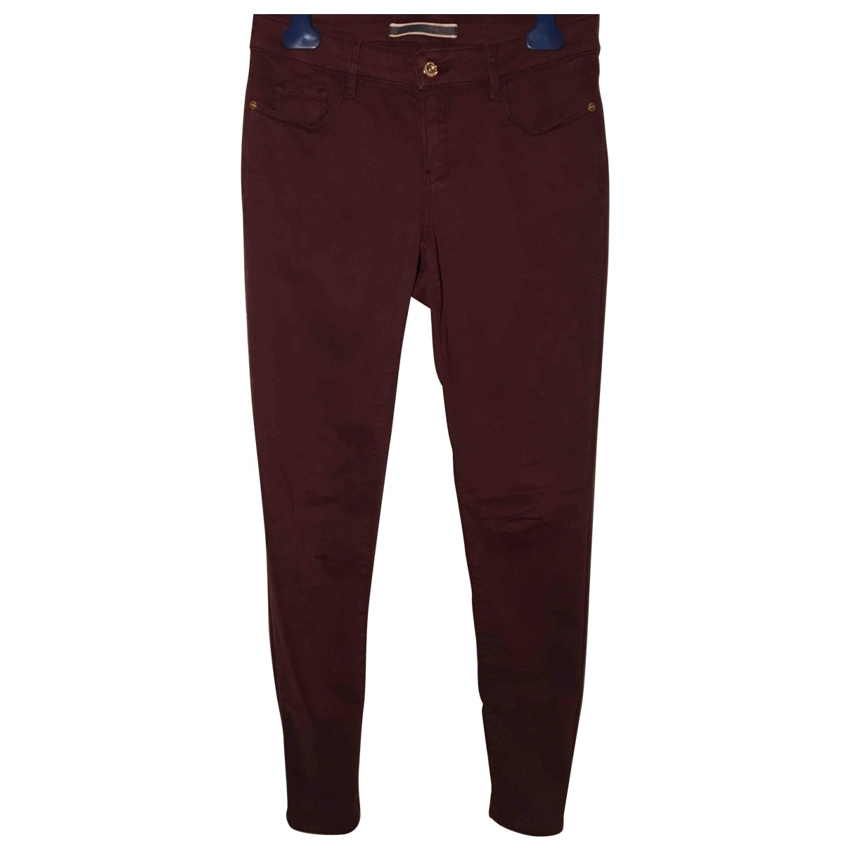 Massimo Dutti \N Burgundy Cotton Trousers for Women 6 US
