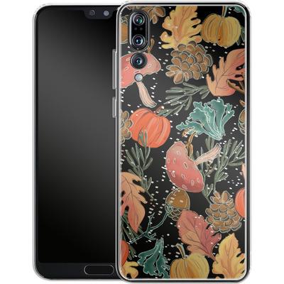 Huawei P20 Pro Silikon Handyhuelle - Fall Woodland Black von Mukta Lata Barua