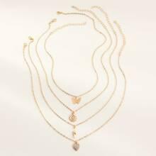 4 piezas collar de niñitas con diseño de corazon y mariposa grabada con diamante de imitacion