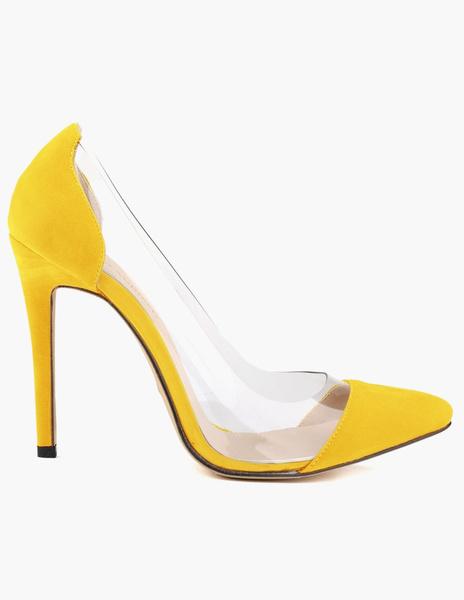 Milanoo Women High Heels Red Suede Clear Pumps Stiletto Heel Dress Shoes