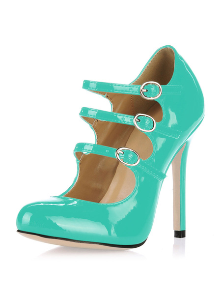 Milanoo Zapatos de tacon de charol blanco