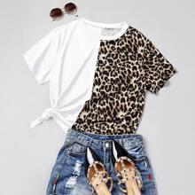 T-Shirt mit Kontrast Leopard Einsatz