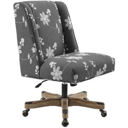 BM213975 Floral Embroidered Fabric Upholstered Office Chair  Gray and