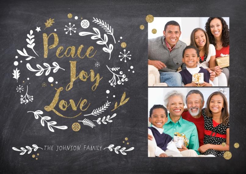 Christmas Photo Cards 5x7 Cards, Standard Cardstock 85lb, Card & Stationery -Peace Joy Love Chalkboard