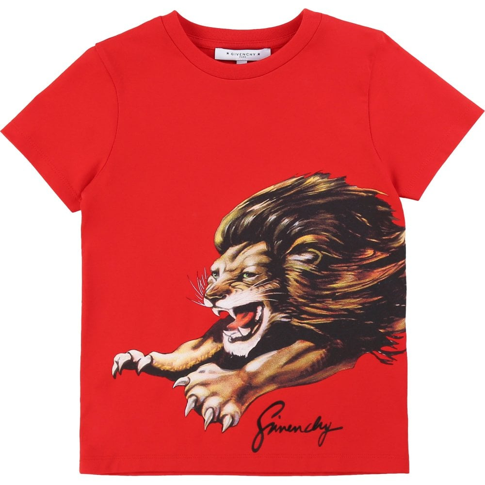 Givenchy Kids Lion Print T-Shirt Colour: WHITE, Size: 4 YEARS