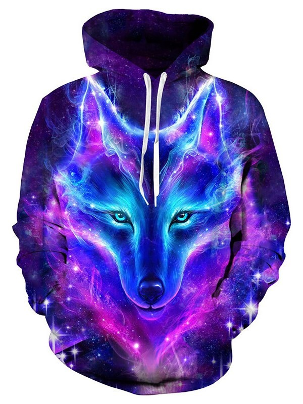 Soft Long Sleeve Dream 3D Galaxy Colorful Wolf Pattern Painted Unisex Hoodie