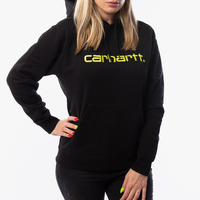 Carhartt WIP W Hooded Sweatshirt I027476 BLACK/LIME