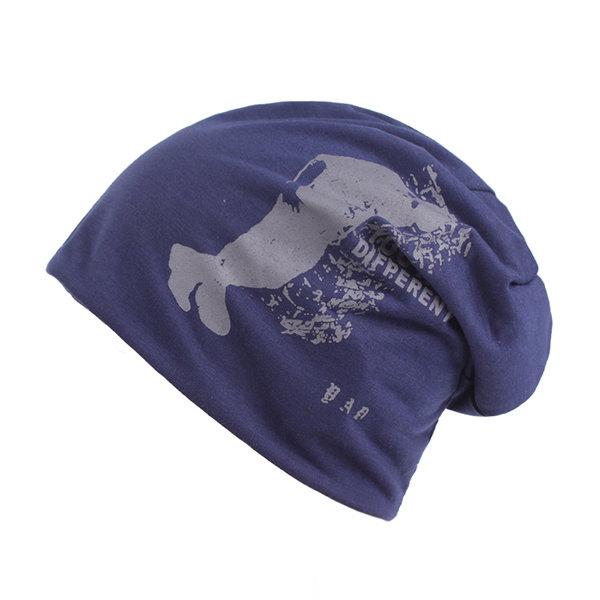 Mens Unisex Cotton Printed Bonnet Beanies Hats Outdoor Ear Protection Warm Skullies Hat
