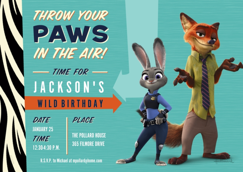 Kids Birthday Party Invites 5x7 Cards, Premium Cardstock 120lb with Rounded Corners, Card & Stationery -Paws in the Air - Zootopia