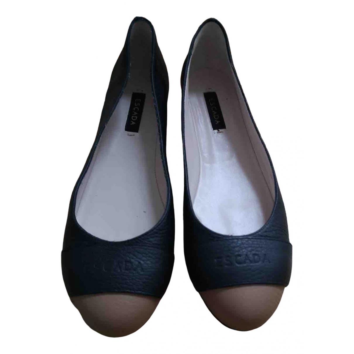 Escada - Ballerines   pour femme en cuir - noir