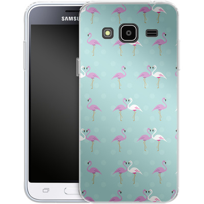 Samsung Galaxy J3 (2016) Silikon Handyhuelle - Two Flamingos von caseable Designs