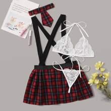 Lingerie Set mit Blumen Spitze & Rock mit Karo Muster und Traeger & Halsband