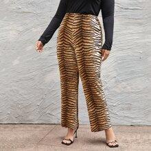 Plus Tiger Print Wide Leg Pants