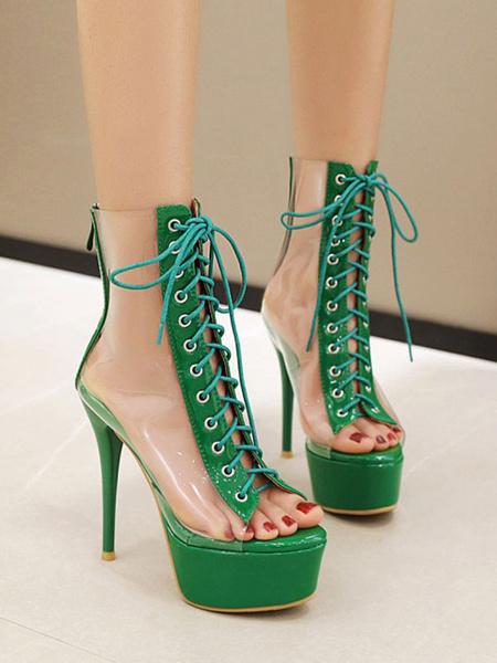 Milanoo Sandalias sexy de tacon alto Zapatos sexy de punta redonda de PVC verde Zapatos sexy