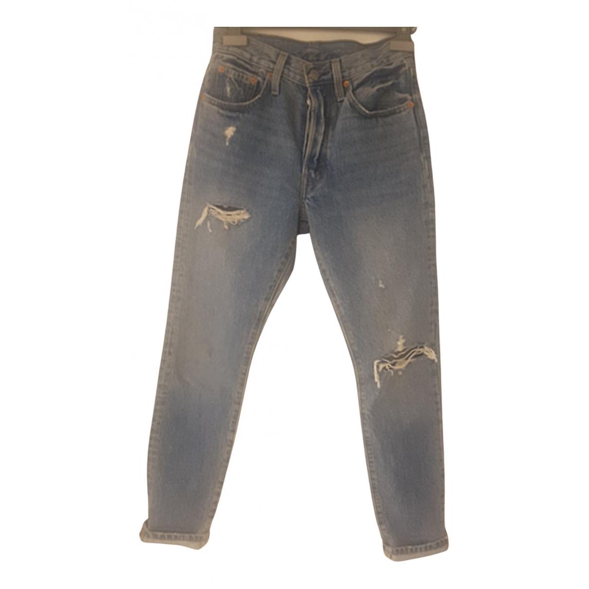 Levi's 501 Blue Cotton Jeans for Women 24 US