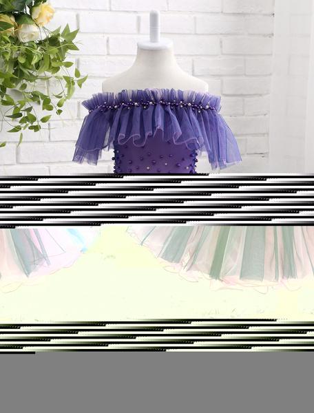 Milanoo Vestido para las damitas de tul de color lavanda con escote barco con flor hombro caido con manga corta