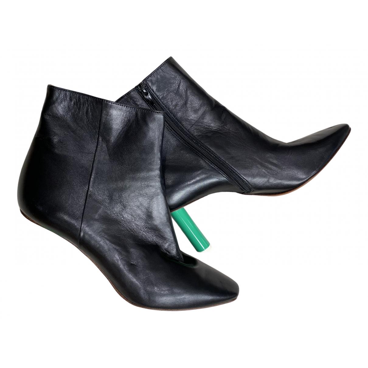 Vetements - Escarpins   pour femme en cuir - noir
