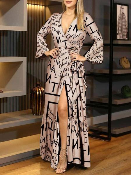 Milanoo Maxi vestidos de mujer nude mangas largas leopardo estampado con cuello en v maxi poliester