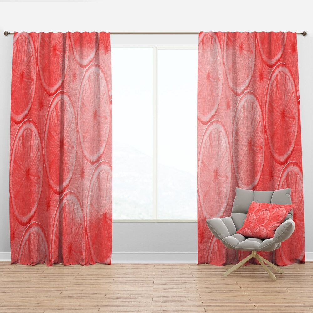 Designart 'Coral Grapefruit Slices' Mid-Century Modern Curtain Panel (50 in. wide x 95 in. high - 1 Panel)