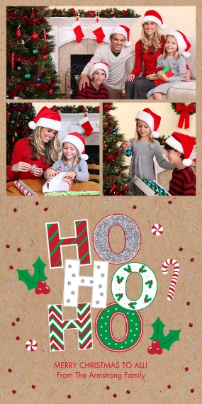Christmas Photo Cards Flat Matte Photo Paper Cards with Envelopes, 4x8, Card & Stationery -Ho Ho Ho Holiday by Foto Crush