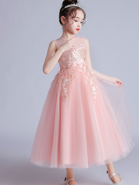 Milanoo Flower Girl Dresses Jewel Neck Sleeveless Embroidered Kids Social Party Dresses