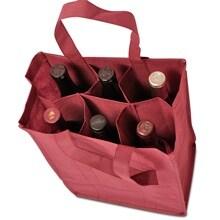 Burgundy 6-Bottle Reusable Wine Bags - 10 X 7 X 14 - Fabric Cloth - Quantity: 25 - Reusable Bags - Type: 6-Bottle by Paper Mart