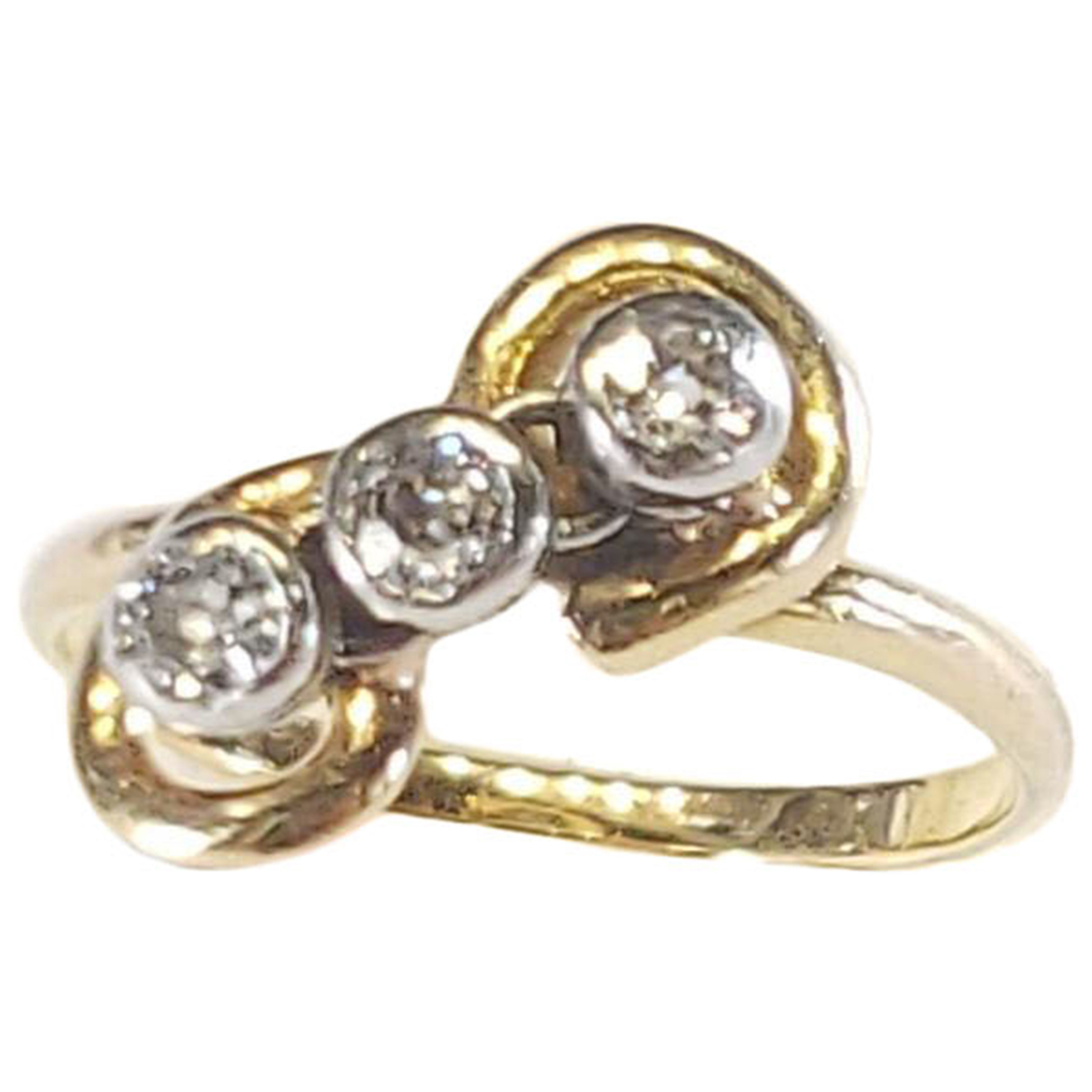 Non Signe / Unsigned Solitaire Ring in  Silber Weissgold