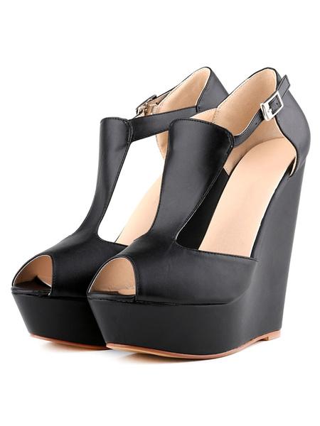 Milanoo Zapatos de tacon de cuña de tacon de cuña con cinta ajustable de punter Peep Toe de PU Color liso estilo modernopara pasar por la noche