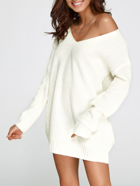 Yoins White Oversized Plunging V-neck Knit Sweater Dress