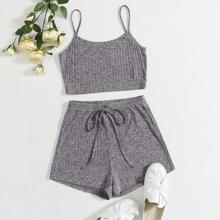 Rib-knit Crop Cami Top & Knot Detail Shorts Set