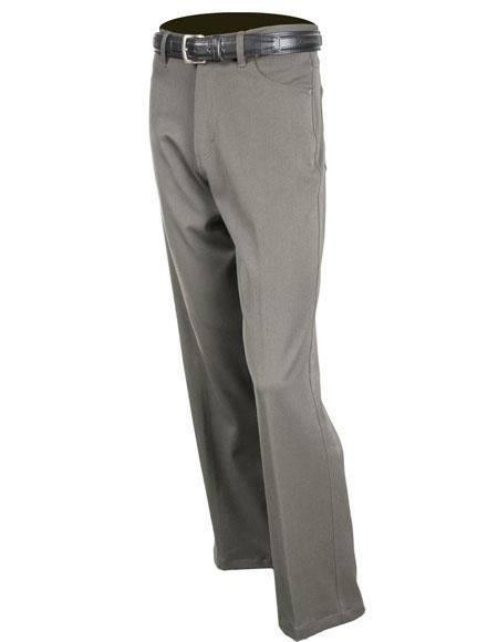 Mens Gray Solid Pattern Stretch Jean Flat Front Dress Pants