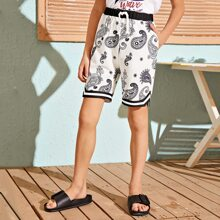 Boys Elastic Waist Striped Tape Detail Paisley Shorts