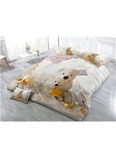 Likable Bear Doll Wear-resistant Breathable High Quality 60s Cotton 4-Piece 3D Bedding Sets